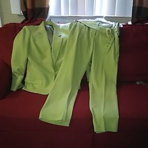 Anna Klein Lime green pants suit